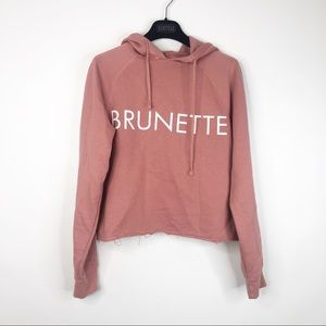Brunette the Label Rose Cropped Raw Sweatshirt